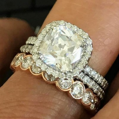 Cushion Cut White Sapphire Rose Gold 925 Sterling Silver 3-Piece Bridal Sets