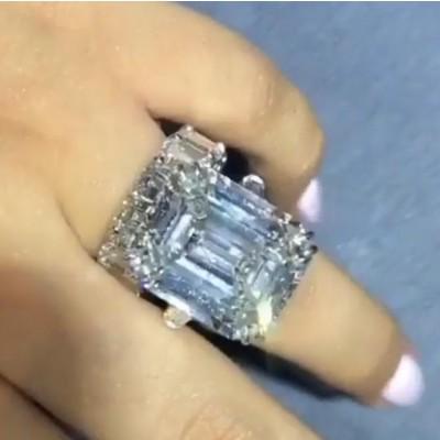 Emerald Cut White Sapphire 925 Sterling Silver Bridal Sets