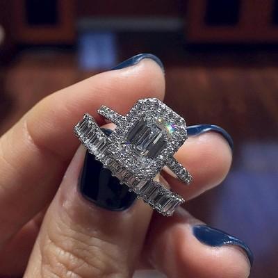 Emerald Cut White Sapphire 925 Sterling Silver Halo Bridal Sets
