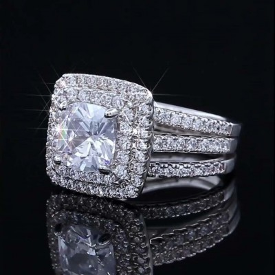 Cushion Cut White Sapphire 925 Sterling Silver Double Halo Bridal Sets