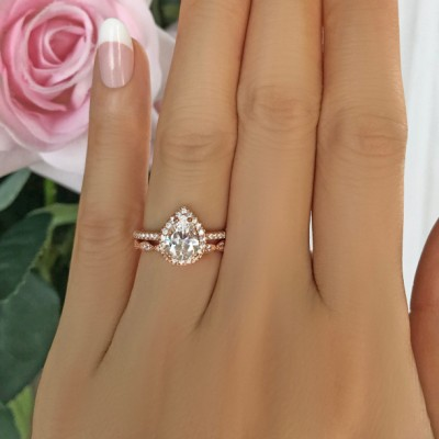 Pear Cut White Sapphire 925 Sterling Silver Rose Gold Halo Bridal Sets