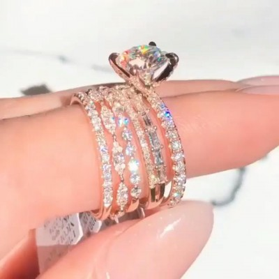 Round Cut White Sapphire 925 Sterling Silver Rose Gold 5-Piece Bridal Sets