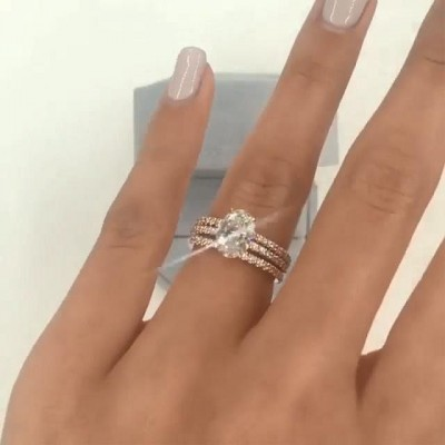 Oval Cut White Sapphire 925 Sterling Silver 3-Piece Bridal Sets