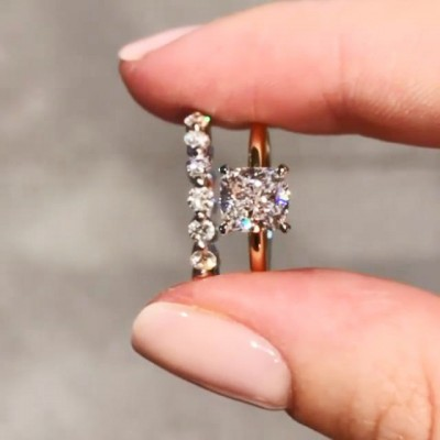 Cushion Cut White Sapphire 925 Sterling Silver Rose Gold Bridal Sets
