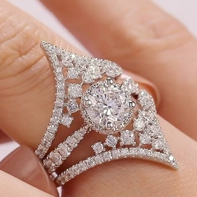 Round Cut White Sapphire 925 Sterling Silver Insert Bridal Sets