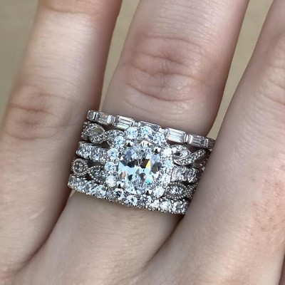 Oval Cut White Sapphire 925 Sterling Silver Halo Bridal Sets