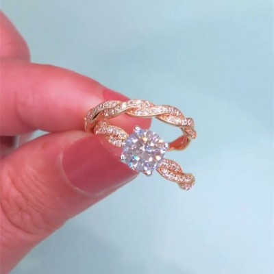 Round Cut White Sapphire Rose Gold 925 Sterling Silver Halo Bridal Sets