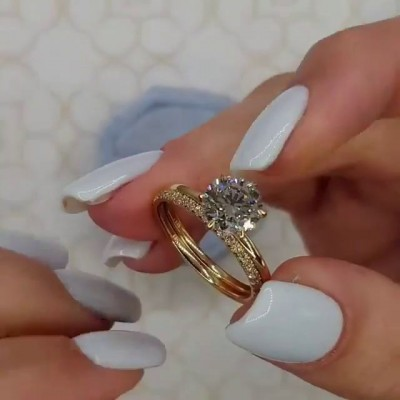 Round Cut White Sapphire Gold 925 Sterling Silver Bridal Sets