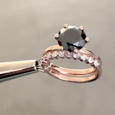 Round Cut Black Sapphire Gold 925 Sterling Silver Bridal Sets
