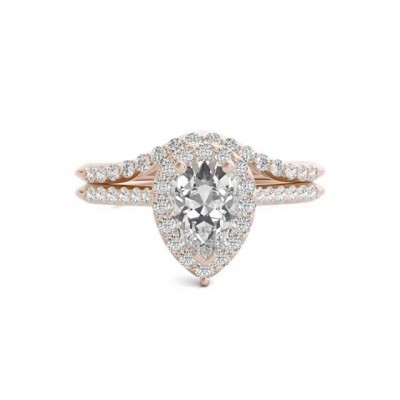 Pear Cut White Sapphire Gold 925 Sterling Silver Halo Bridal Sets
