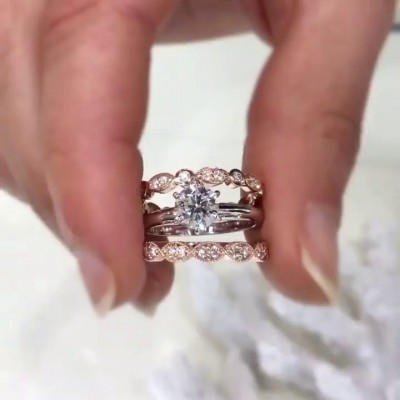 Round Cut White Sapphire Rose Gold 925 Sterling Silver 3-Piece Bridal Sets
