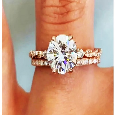 Oval Cut White Sapphire Gold 925 Sterling Silver Bridal Sets