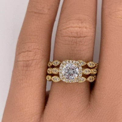 Round Cut White Sapphire Gold 925 Sterling Silver 3-Piece Halo Bridal Sets