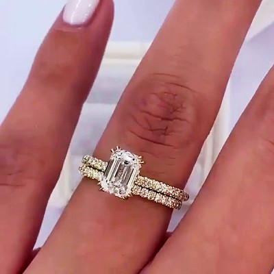 Emerald Cut White Sapphire Gold 925 Sterling Silver Bridal Sets