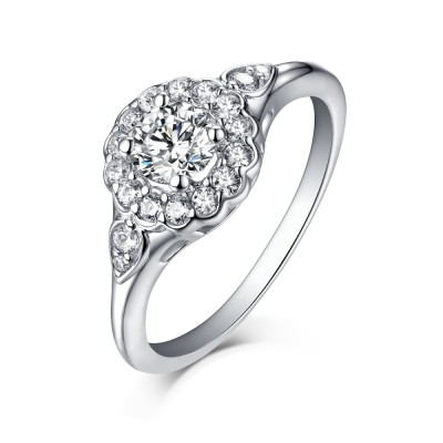 Halo Round Cut White Sapphire 925 Sterling Silver Engagement Rings