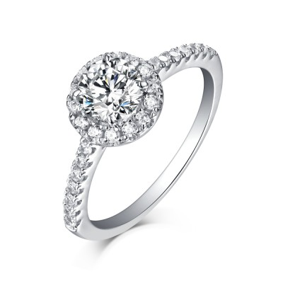 Nice Round Cut White Sapphire 925 Sterling Silver Halo Engagement Rings