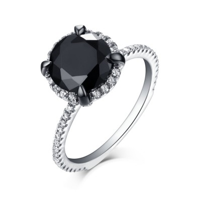 Round Cut 925 Sterling Silver Halo Black Sapphire Engagement Rings
