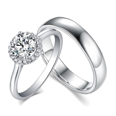 Round Cut White Sapphire 925 Sterling Silver Halo Couple Rings