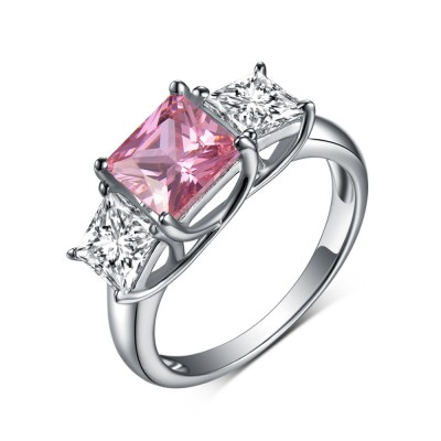Princess Cut 925 Sterling Silver Three Stone Pink & White Sapphire Engagement Rings