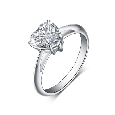 Heart Cut 925 Sterling Silver White Sapphire Engagement Rings