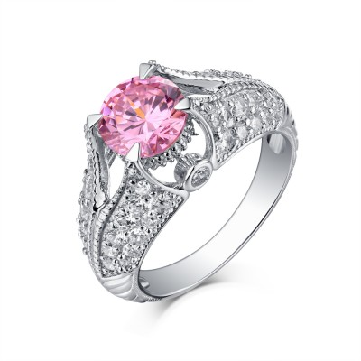 Round Cut S925 Silver Pink Sapphire Art Deco Engagement Rings