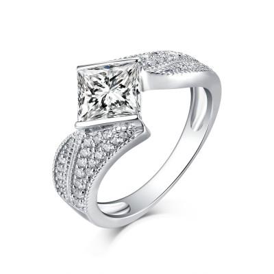 Princess Cut S925 Silver White Sapphire Art Deco Engagement Rings