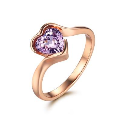 Simple Heart Cut Amethyst Women's Engagement Ring