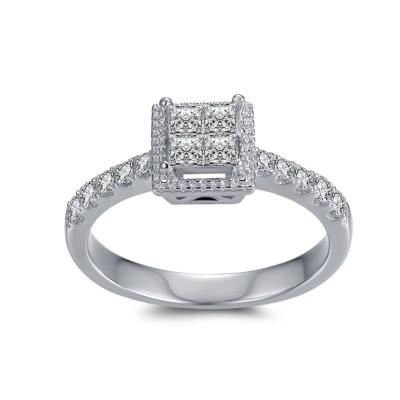 1/4CT Princess Cut Gemstone Sterling Silver Engagement Ring