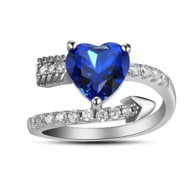 Heart Cut Sapphire Sterling Silver Cocktail Ring