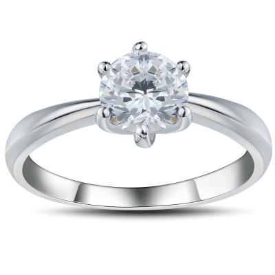 Round Cut White Sapphire 0.6CT 925 Sterling Silver Promise Rings For Her