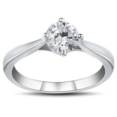 Round Cut 0.5CT White Sapphire 925 Sterling Silver Promise Rings For Her