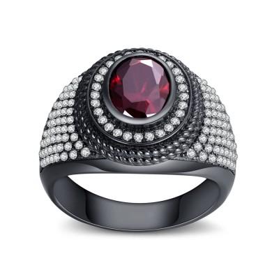 Garnet Round Cut Sterling Silver Women's Ring