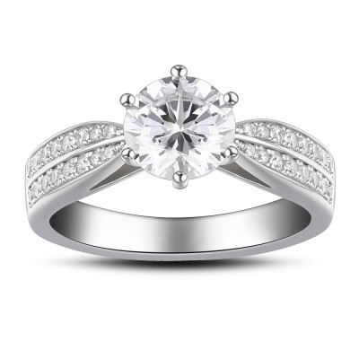 Round Cut White Sapphire 925 Sterling Silver Women's Engagement Ring