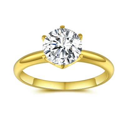 Gold 925 Sterling Silver Round Cut Gemstone Engagement Ring