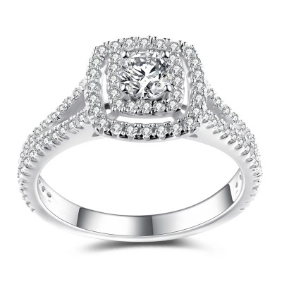 Amazing Round Cut White Sapphire 925 Sterling Silver Women's Engagement Ring