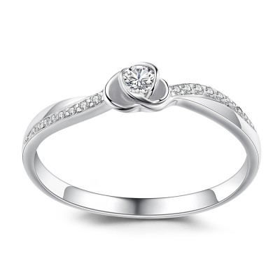 Heart Design Round Cut 925 Sterling Silver Engagement Ring