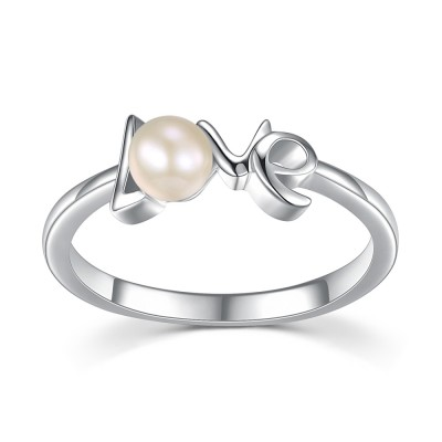 Round Pearl Love Sterling Silver Engagement Rings