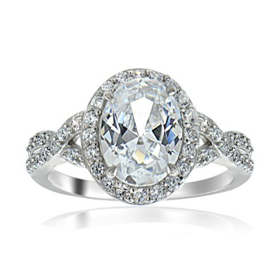 Oval Cut White Sapphire Sterling Silver Halo Engagement Rings