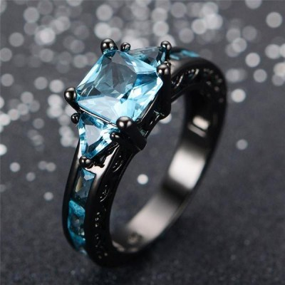 Princess Cut Aquamarine Black Engagement Rings