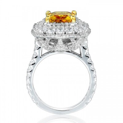 Radiant Cut Topaz 925 Sterling Silver Halo Engagement Ring