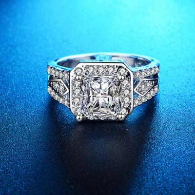 Cushion Cut White Sapphire Halo Engagement Ring