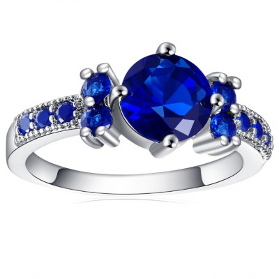Round Cut Blue Sapphire Engagement Ring