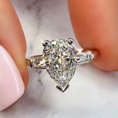 Pear Cut White Sapphire 925 Sterling Silver 3-Stone Engagement Rings