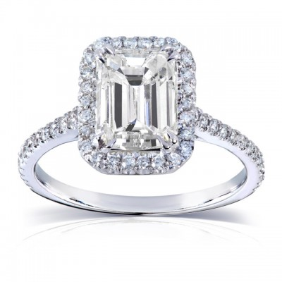 Emerald Cut White Sapphire 925 Sterling Silver Halo Engagement Rings