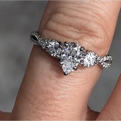Pear Cut White Sapphire 925 Sterling Silver Three-Stone Engagement Rings
