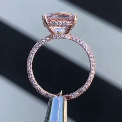 Cushion Cut White Sapphire Rose Gold 925 Sterling Silver Engagement Rings