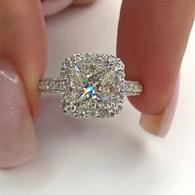 Princess Cut White Sapphire 925 Sterling Silver Halo Engagement Rings