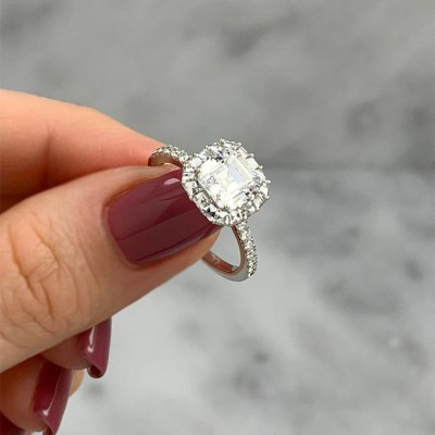 Asscher Cut White Sapphire 925 Sterling Silver Halo Engagement Rings
