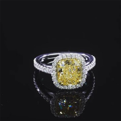 Cushion Cut Topaz 925 Sterling Silver Halo Engagement Rings