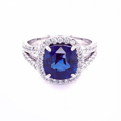 Cushion Cut Blue Sapphire 925 Sterling Silver Halo Engagement Rings